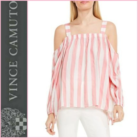 60b1405828a VINCE CAMUTO Pink White Striped Off Shoulder Top